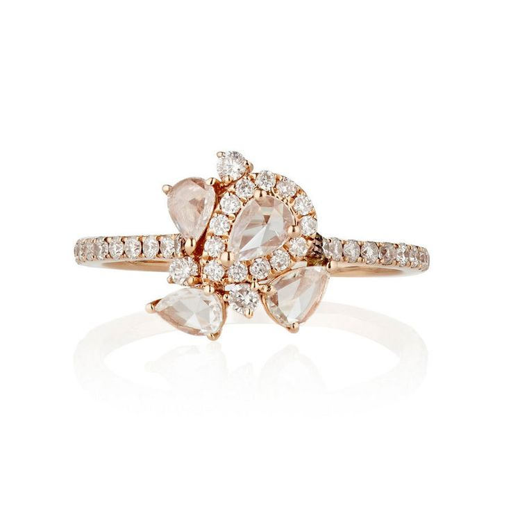 Zoe White Diamond & Rose Gold Cluster Ring: www.stylemepretty...