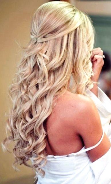 Beautiful blonde half up long down curls