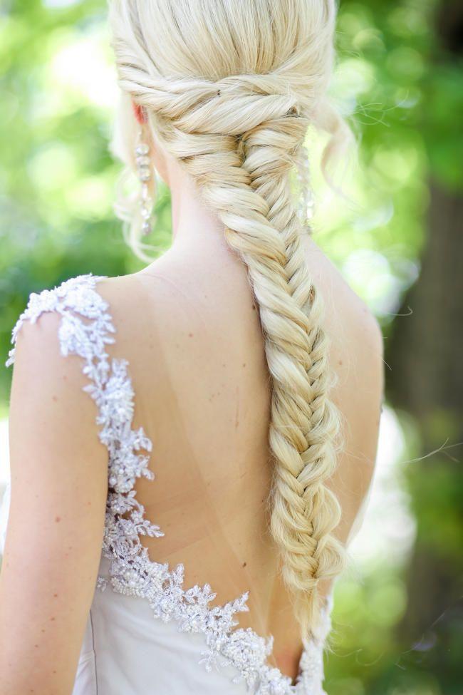 Bride fishtail braid for long hair // Nikki Meyer photography