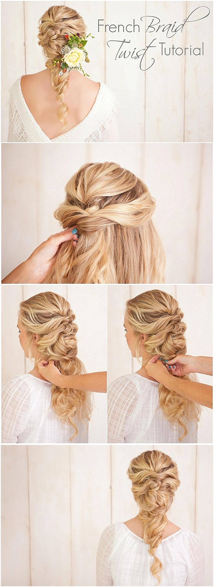 French braid twist tutorial. Love this wedding hairstyle idea! Click to see the ...