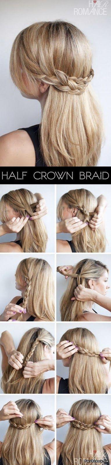 Half crown braid ~ DIY Everyday Hairstyles School Step by step ~ I love it:)