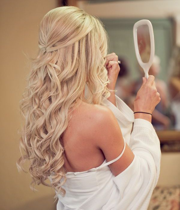 Long curly half up half down hairstyle for Glenda and Scott wedding! :)