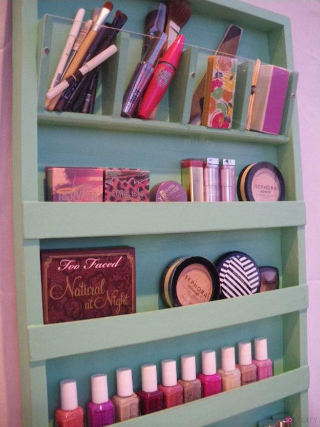 Wooden Makeup Organizer | Organize Your Makeup With These 17 Cool DIY Organizer....