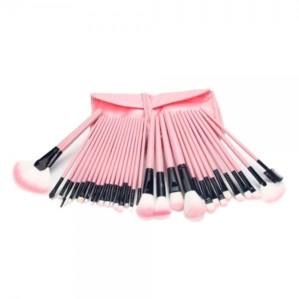 32pcs Cosmetic Makeup Brush Set with Cosmetic Pink Back