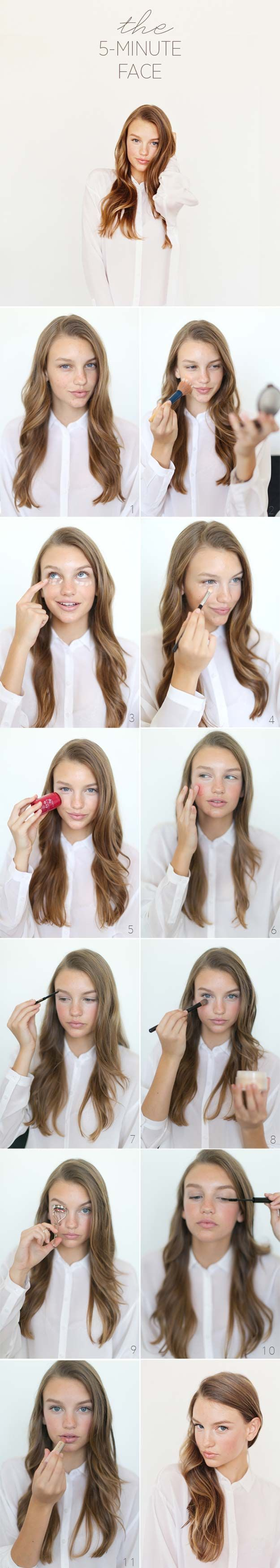 Best Makeup Tutorials for Teens -The 5 Minute Face Beauty Tutorial - Easy Makeup...