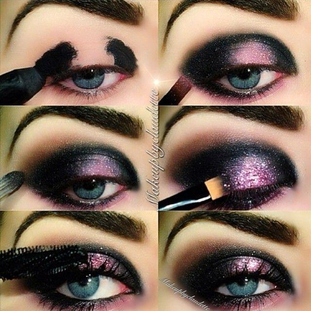 Black and lilac galaxy eye makeup tutorial #evatornadoblog evatornado.blogsp...
