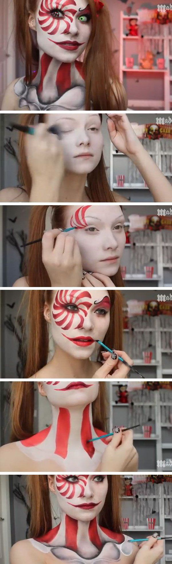 Candy cane slash skeleton girl Halloween makeup. Looking crazy is in when it com...