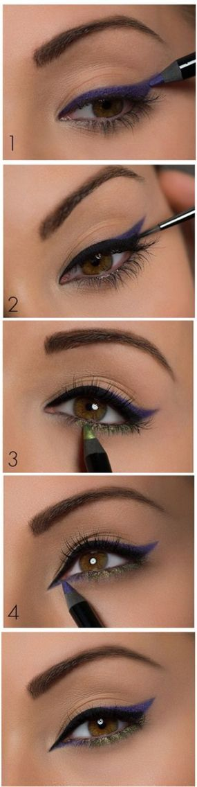 Colorful eyeliner makeup look tutorial. Follow this with your favorite makeup pr...
