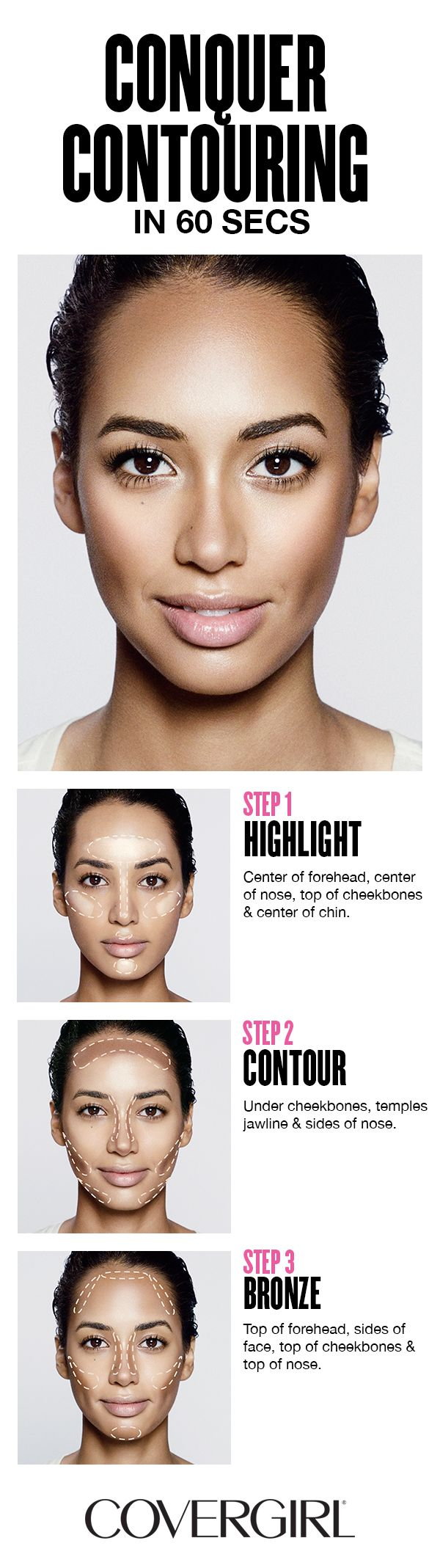 Contour your face in 60 seconds! Follow COVERGIRL'S step-by-step tutorial usin...