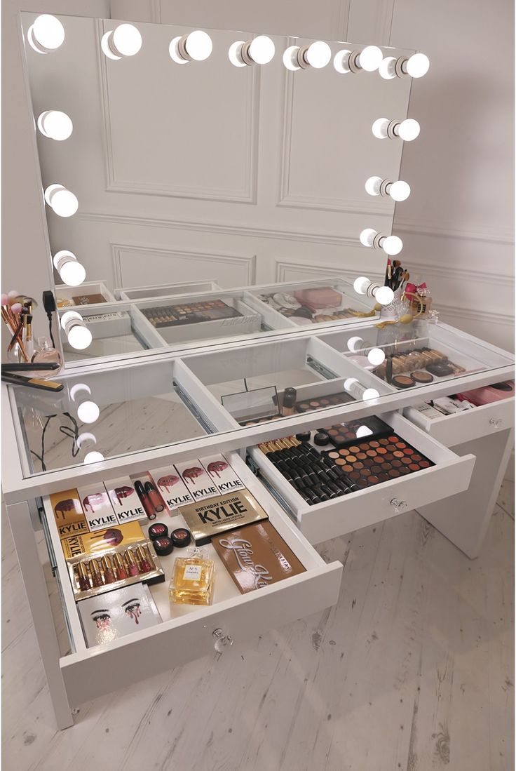 crisp white finish Slaystation make up vanity with premium storage, three spac...