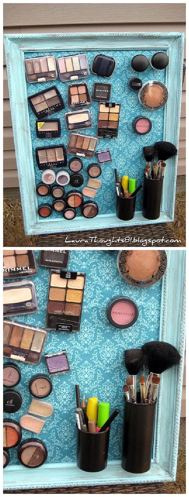 DIY Bathroom Organizer Ideas - DIY Magnetic Makeup and Beauty Tools Decorative S...