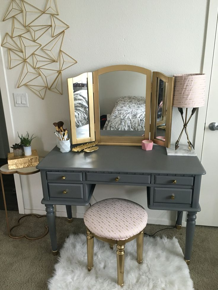 DIY vanity make over!  Spray painted my old black vanity matte grey and shiny go...