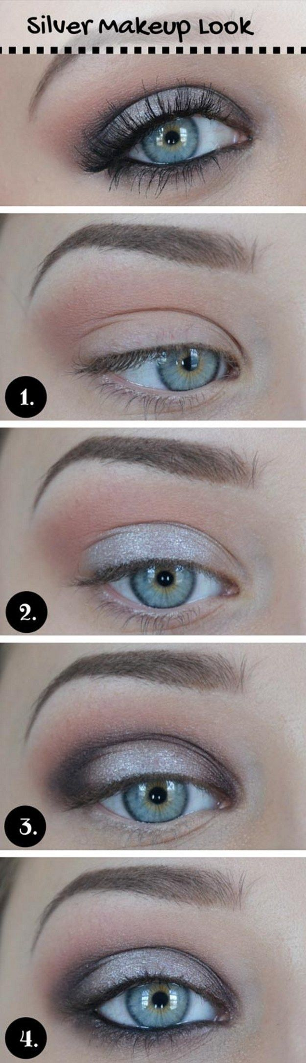 How to Do Silver Eye Makeup | Metallic Eyes by Makeup Tutorials at www.makeuptut...
