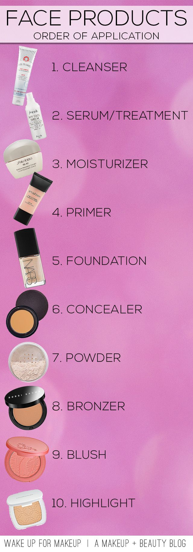 I do all these steps except primer, powder and highlighter in this order and my ...