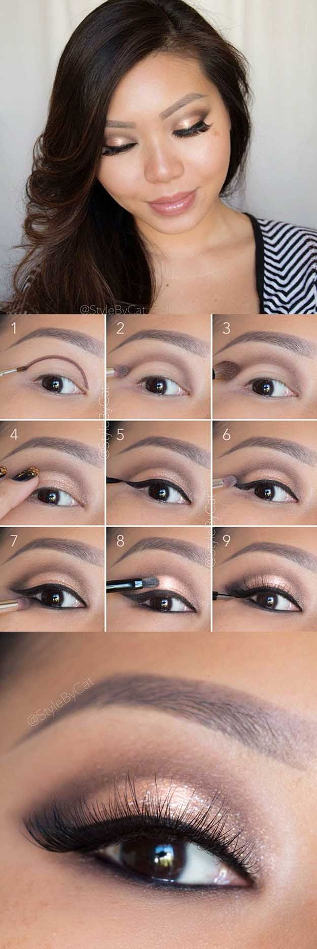 Makeup Tips For Asian Women - Soft Rose Gold Smokey Eye Tutorial- Simple Step By...