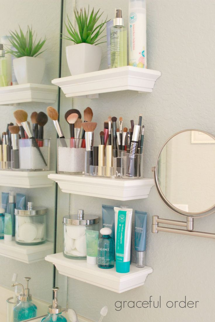 Organizing Small Bathroom Sinks. This is actually really smart because my bathro...