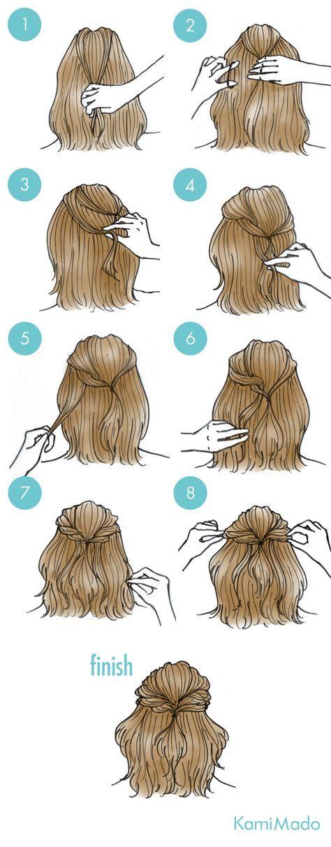 Penteado super fácil para fazer sozinha no cabelo. Um pouquinho preso e pronto:...