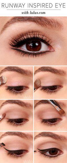 Runway Inspired Black Eyeliner Makeup Tutorial Cute goldish eye makeup!