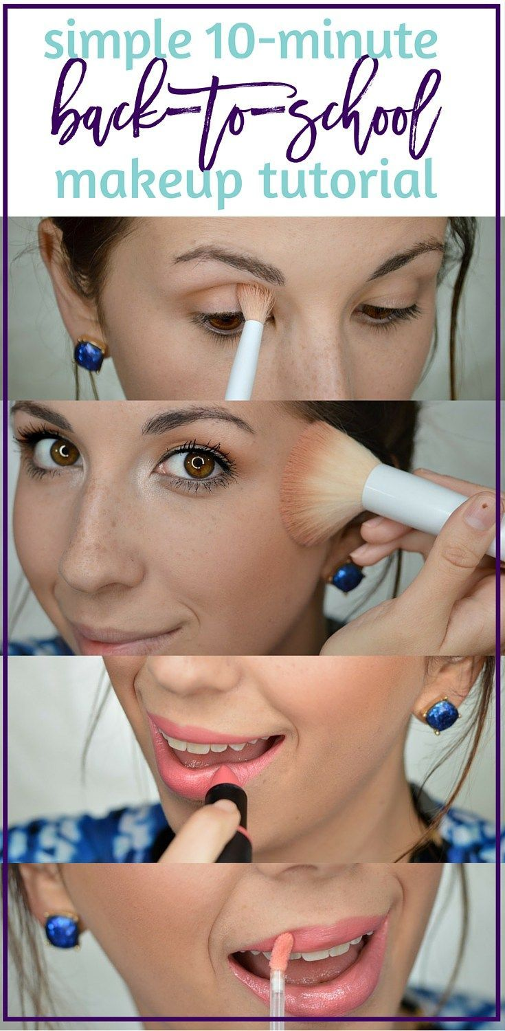 Simple & Quick 10-Minute Back-To-School Makeup tutorial, because every girl want...