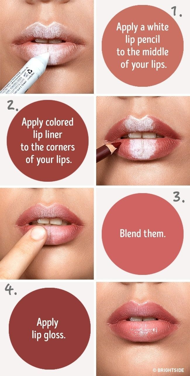 Six simple tricks that will make your lips look fuller --- use a white pencil to...