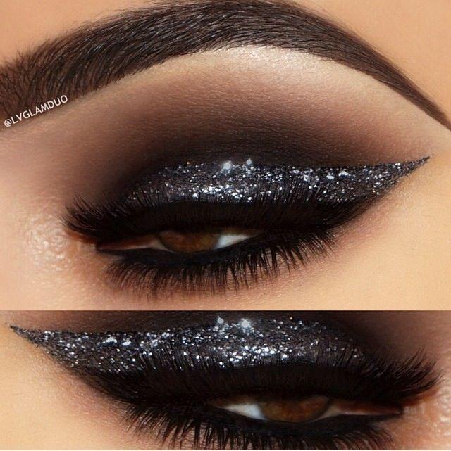 Smoky Black Glitter Eye Makeup Idea #michaelthesalon                            ...