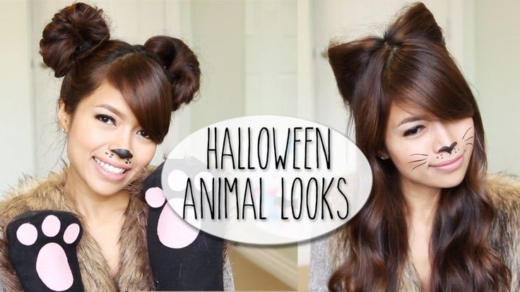 SO EASY!  DIY Halloween Costume Ideas   Bear & Cat Ears Hairstyle & Makeup Tutor...