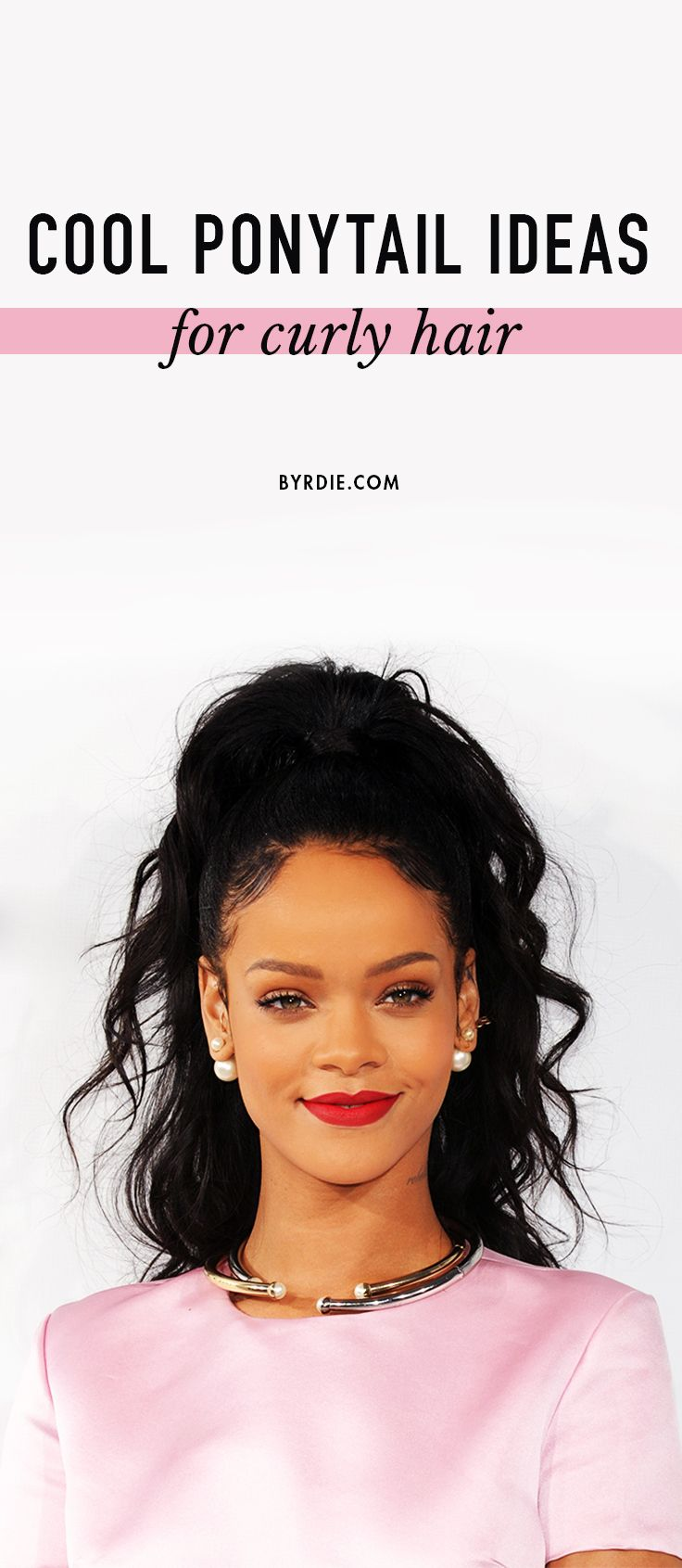 7 ways to update a ponytail for curly-haired girls.