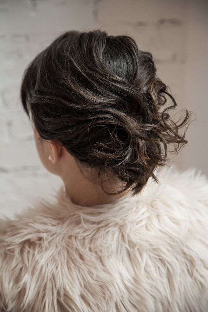 A chic twisted updo for short hair