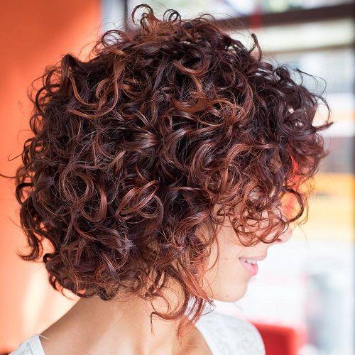 Curly Mahogany Bob. 40 curly haired bobs