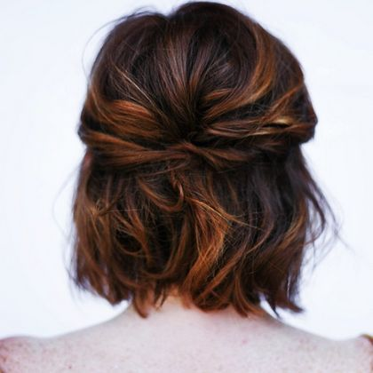 twisted half up-do for short hair