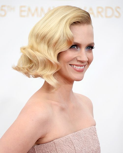 January Jone's curled, blonde bob is giving off major old Hollywood vibes