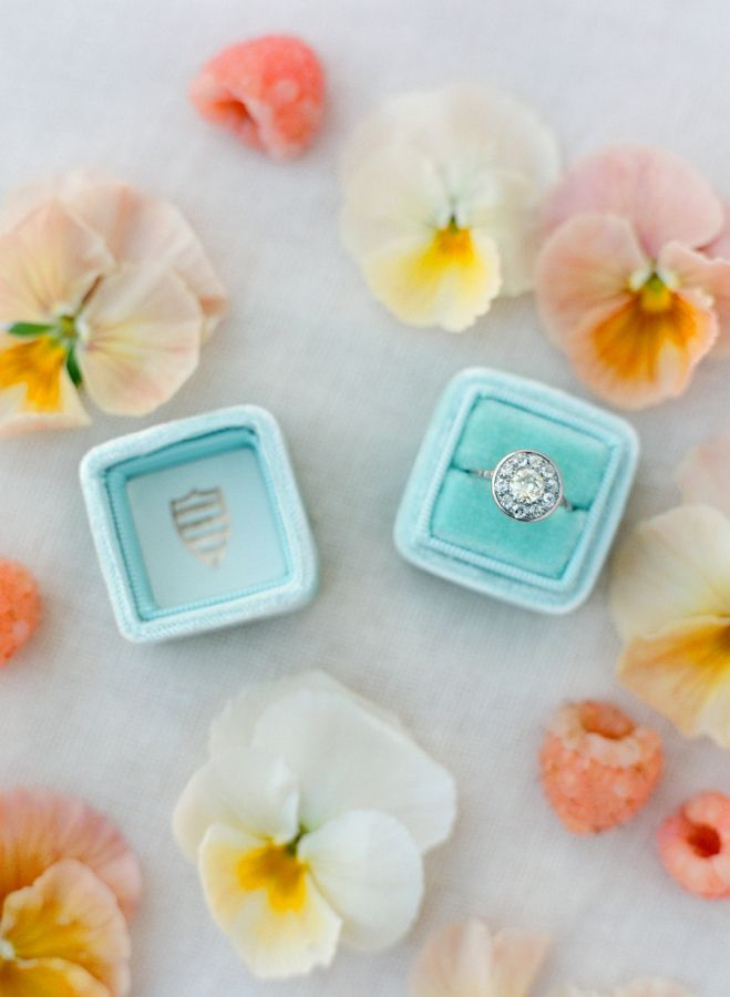 Dazzling round cut halo engagement ring: www.stylemepretty... | Photography: Jos...
