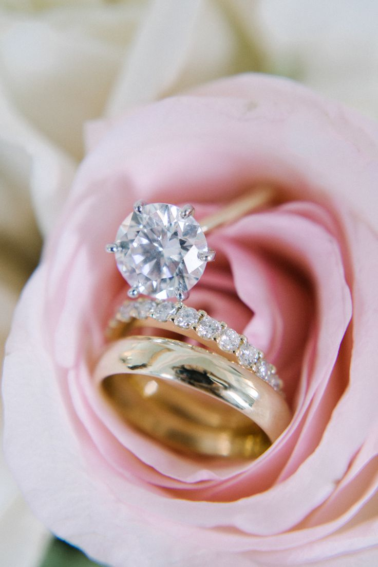 A solitaire diamond + gold band combo is timeless and elegant: www.stylemepretty...