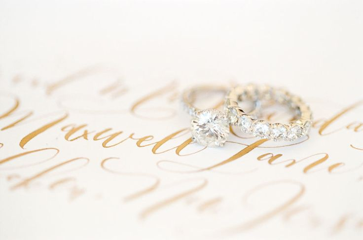 Gorgeous solitaire engagement ring + wedding band: www.stylemepretty... | Photog...