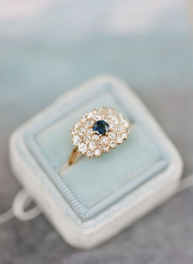 Gorgeous + unique diamond and sapphire engagement ring: www.stylemepretty...   P...