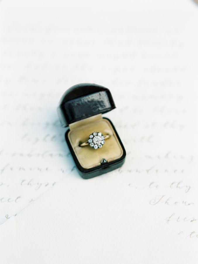 Gorgeous vintage-inspired halo engagement ring: www.stylemepretty... | Photograp...
