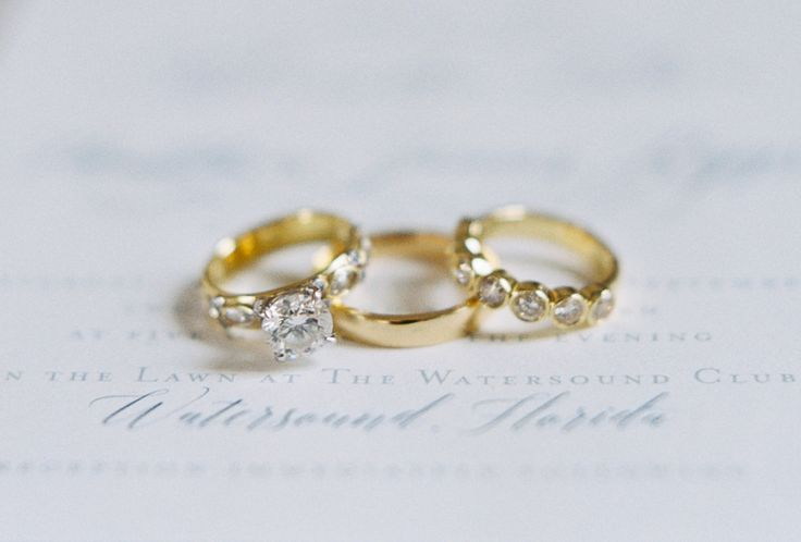 Gorgeous yellow gold engagement ring + wedding bands: www.stylemepretty...   Pho...