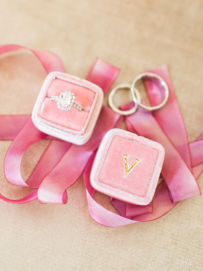 Personalized pink ring box + halo engagement ring: www.stylemepretty...   Photog...