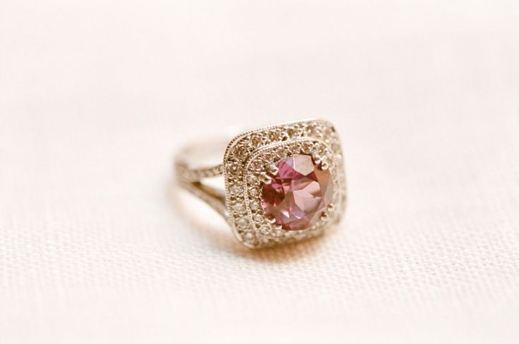 Round cut pink sapphire & square double diamond halo: www.stylemepretty...