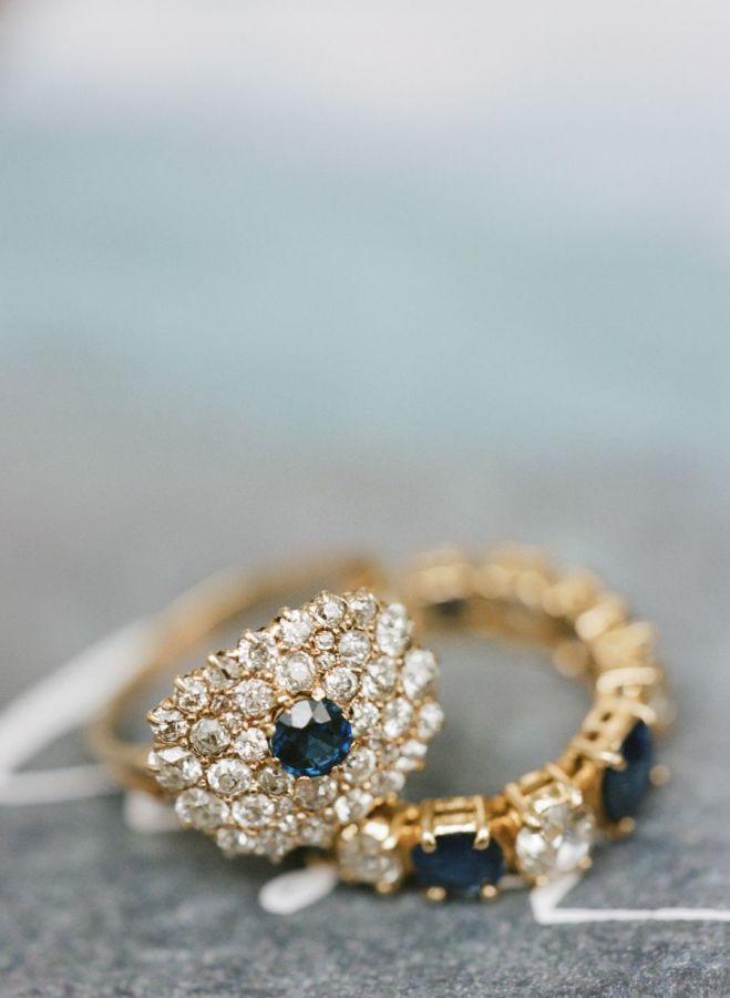 Sapphire + diamond gold rings: www.stylemepretty...   Photography: Elisa Bricker...