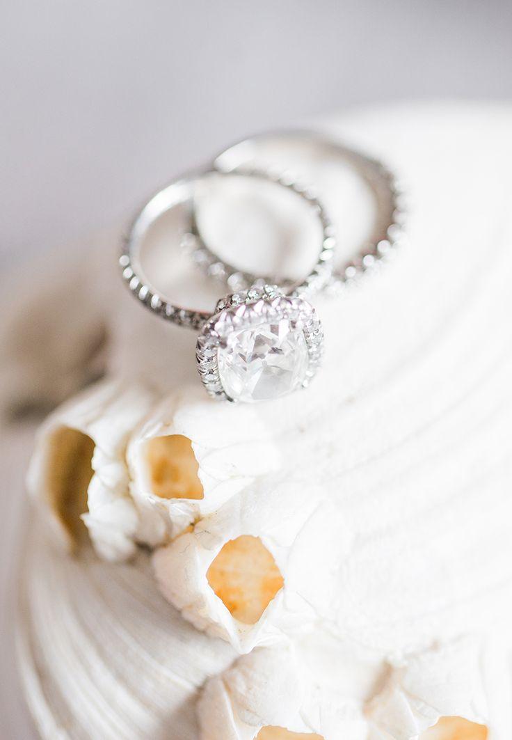 Stunning cushion cut halo engagement ring: Photography: Sally Pinera - sallypine...