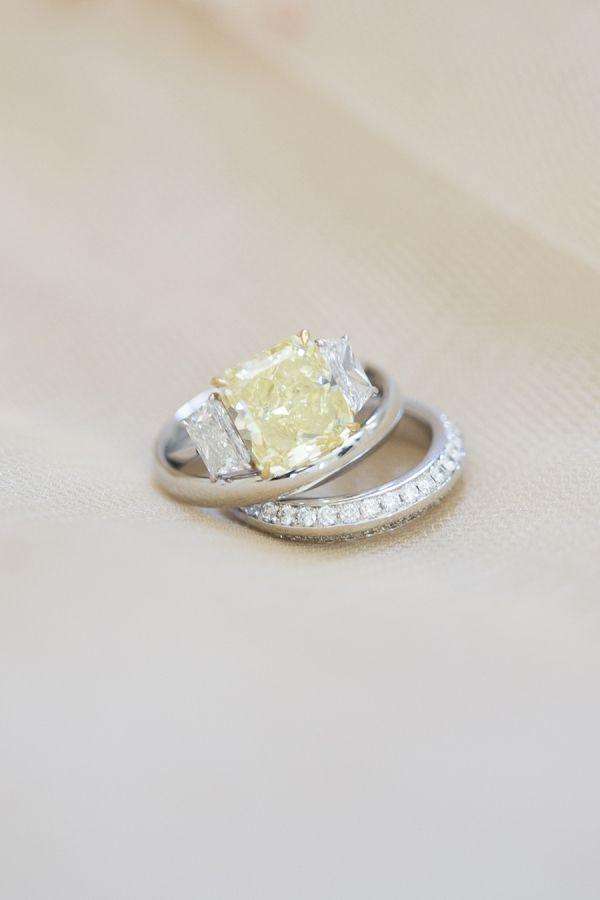 Three stone canary diamond engagement ring: www.stylemepretty... | Photography: ...
