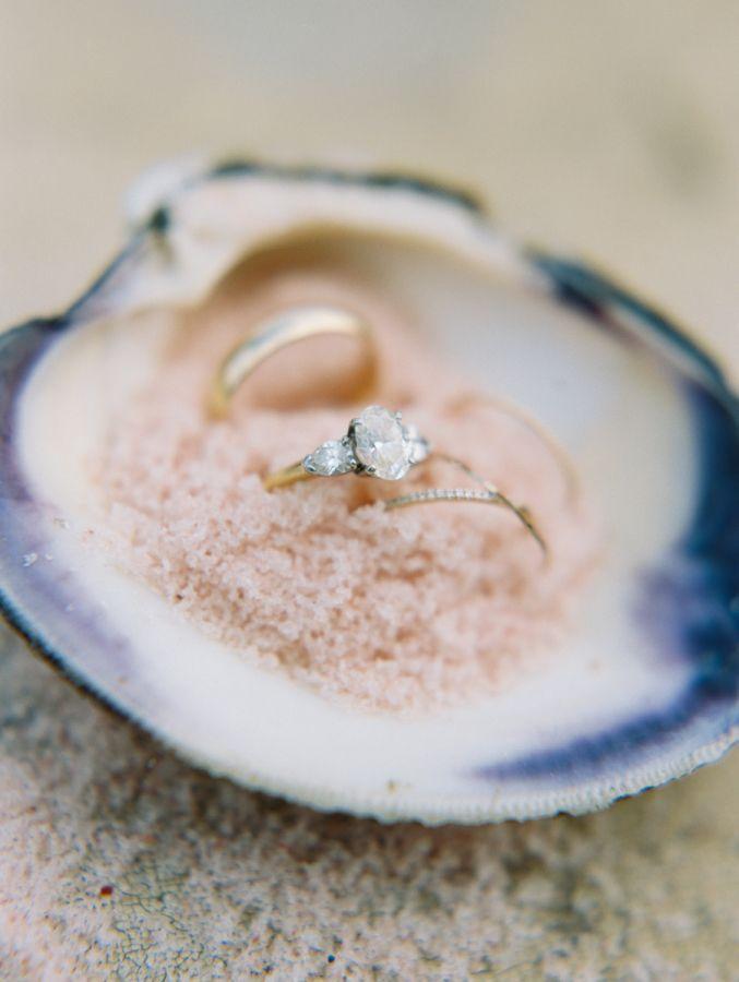 Three stone gold band engagement ring: www.stylemepretty... | Photography: Bruml...