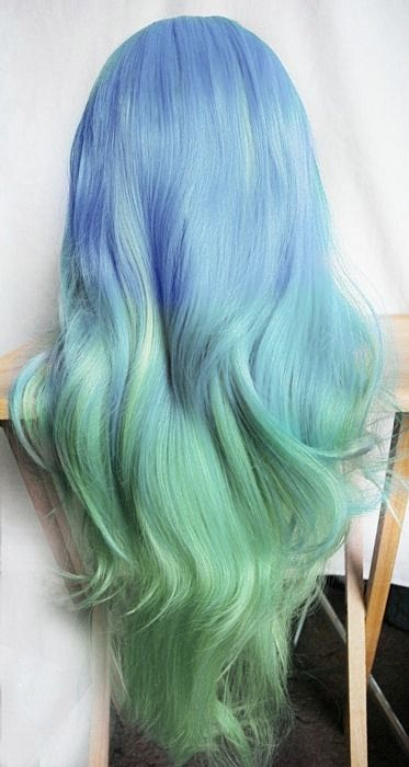 Blue to green ombre hair!