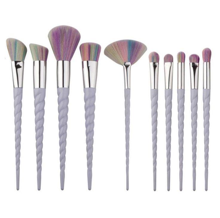 10 Piece Unicorn makeup Brushes
