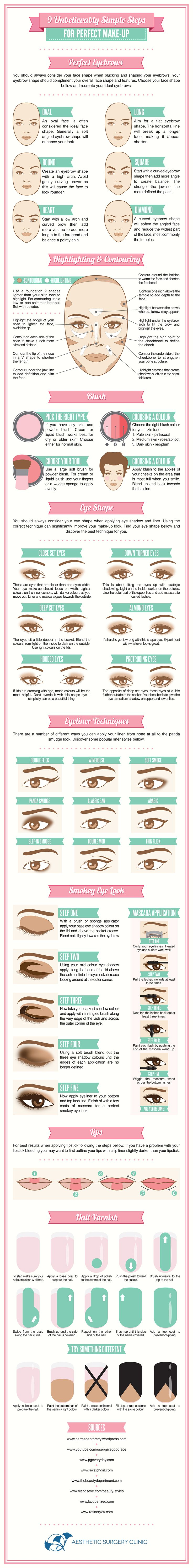 9 Unbelievably Simple Steps for Perfect Make-Up #Infographics #Image #POD â€...