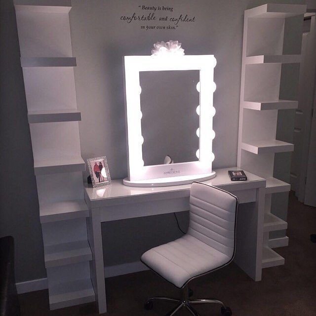 Cute, I'd put my heels on the shelves and find a nice makeup holder to place...