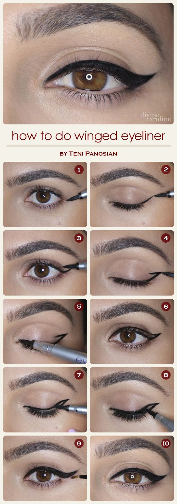 How to Do Winged Eyeliner   Divine Caroline. Oh, that's how.