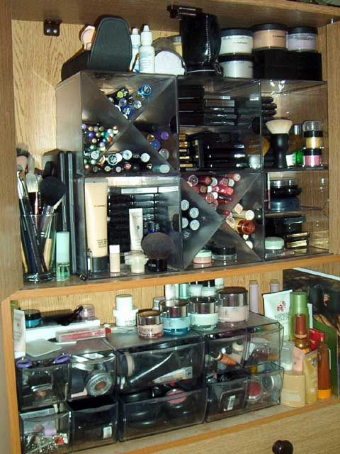Impressive storage solution and fairly simple!  Good god, how much makeup does o...
