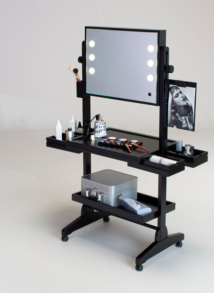 L400 WHEELED  LIGHTED VANITY TABLE  FULL MIRROR AND LATERAL DRAWERS
